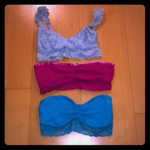 AERIE bandeau and bralette lot! All 3 included!